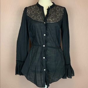 Free People Black Lace Button Down Top Size 12